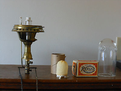 2  Welsbach gas wall lamps, glass chimny, Reflex gas mantle and orginal boxes