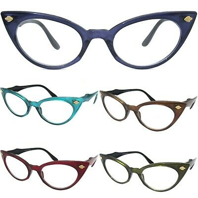 57aeb49c411 Cat Eye Clear Lens Color Frame Glasses Womens Retro 60s Vintage Design Sexy  Cute