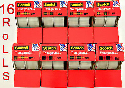 "16pc 3M Scotch Tape Clear Office Transparent 3/4"" 250"" w/ Desktop Dispenser Lot"