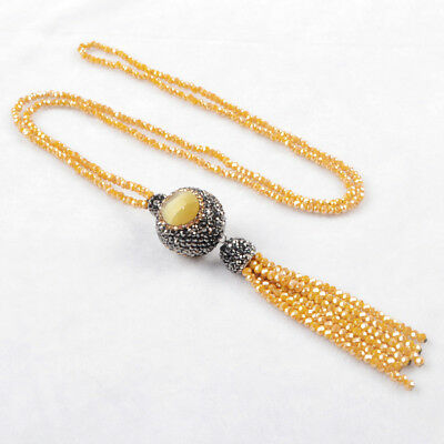 "1Pcs 28"" CZ Pave Cat's Eye Ball Necklace With Yellow Quartz Tassels Chain HJA399"