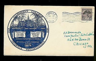 Allegheny College 115th Anniv. 1932 Meadville PA Timoth Alden + Bentley Hall pic