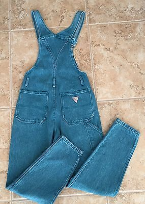 Vintage 80s GUESS Jeans Women's Overalls Turquoise Blue size 1 Small NWOT Taper