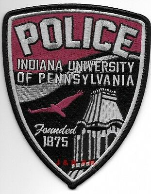 """*NEW*  Indiana University of Pennsylvania (4"""" x 5"""") shoulder police patch (fire)"""