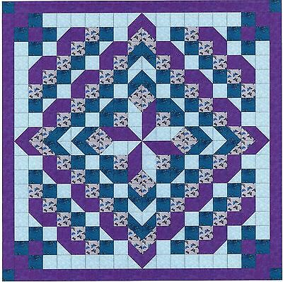 Quilt Kit/Faceted Star/Purple and Aqua/Pre-cut Fabric Ready To Sew/EXPED SHIP