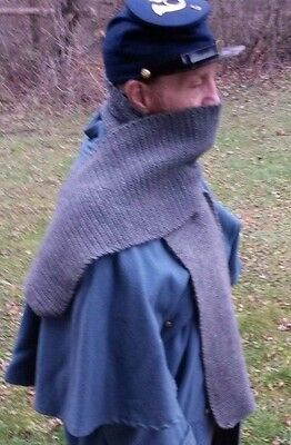 Civil War Dark GRAY SCARF Hand Knitted 100% Wool for Soldiers Civilians
