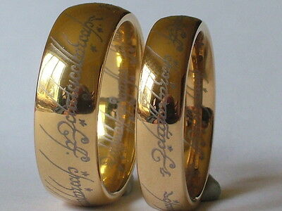 Lord Of The Rings Ring, Tungsten Gold Plated,  Men,Women,New,sizes 5-15(J-Z+4