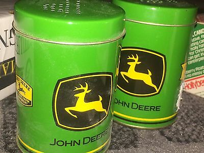 John Deere Salt and Pepper shakers. large, tin, and green