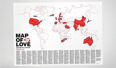 Love Map Poster Travel Guide Gift art travel gift picture stickers valentine
