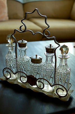 Vintage English 5 piece Glass Condiment Set with silver plated stand- hallmarked