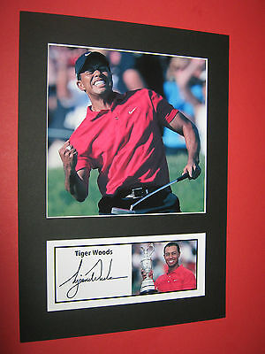 Tiger Woods Golf A4 Photo Mount Signed Reprint Autograph