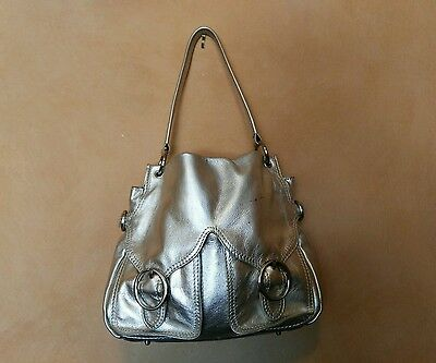 OROTON Ladies Hobo  Leather  Silver Bag Made in Indonesia