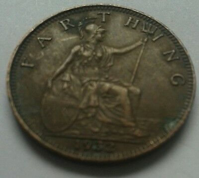 1932 King George V Farthing Coin Great British Coin