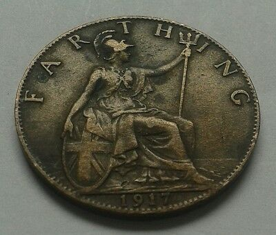 1917 King George V Farthing Coin Great British Coin