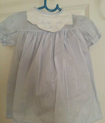 Baby vintage dress Light Blue  embroidery age 6-12 mths 70's - New. Made in UK