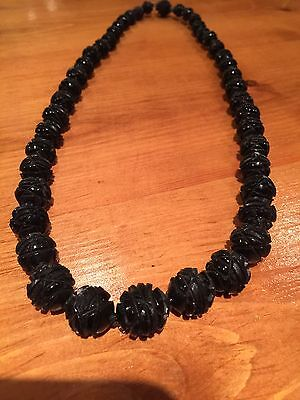 Antique Whitby Jet Carved Necklace Victorian
