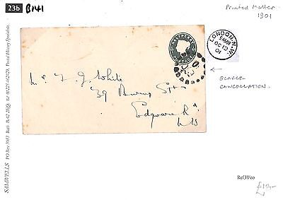 B141 1901 GB QV POSTMARKS Very Scarce Trial Packet Cancellation Stationery Env