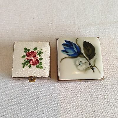 Lot x 2 Vintage GUILLOCHE ENAMEL HAND PAINTED PILL BOX + ROSE PILLBOX by MASCOT