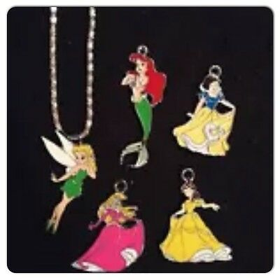 5 Princess Little Mermaid Belle Snow White Tinker Bell And Chain Set