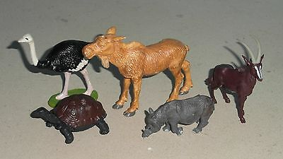 Britains Zoo Moose/Baby Indian Rhino/Sable Antelope/Ostrich/Tortoise