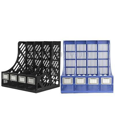 4 Divider Magazine Holder File Rack Office Home Storage Box Trays Organizer