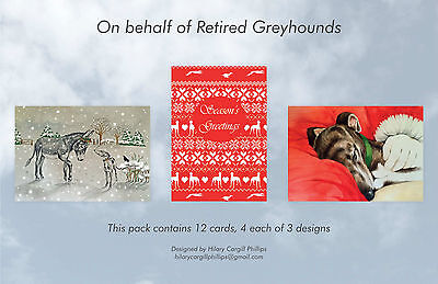 Greyhound Christmas Cards (This Pack contains 12 cards 4 each of 3 designs)