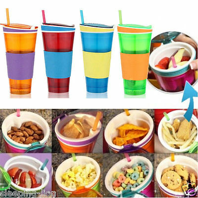 Snackeez 2 in 1 Snack and Drink Water Cup Lid Straw Travel Home Kids Children