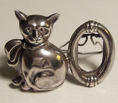 Miniature Figural Sterling Silver Cat W Attached Oval Frame 1976 Marked