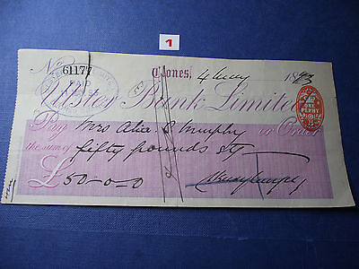 Irish Cheques 1893-1953. Ulster Bank Limited. Clones Branch (1-6)