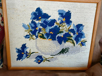 Tapestry Framed Picture Of Flowers