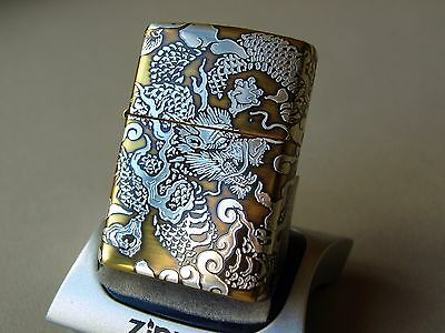 Zippo Lighter 5 Sided Highly Detailed Gold and silver DRAGONS Luxury Zippos