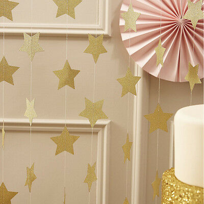 Gold Glitter Star Bunting Garland Wedding Party Celebration Fireplace Tree Decor