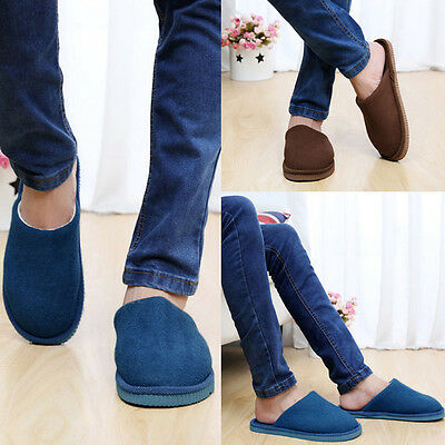 Men Unisex Home Indoor Anti-slip Flat Casual Slippers Soft Warm Cotton Shoes