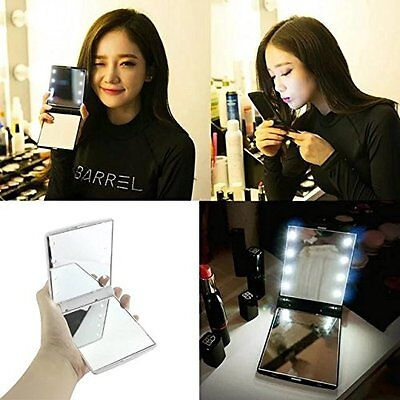 Portable 8 LEDs Folding Compact Hand Mini Makeup Cosmetic Travel Pocket Mirror