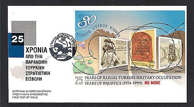 1999  25 Years Of Turkish Invasion Of Cyprus Miniature Sheet Unofficial Fdc