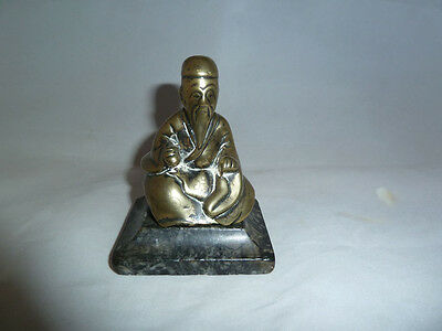 19th Century Chinese Bronze Seated Sage Figure.