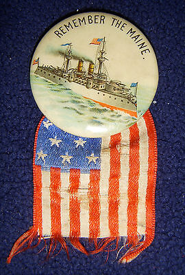 """Rare 1898 Remember The Maine Military Button Pin Spanish American War 1 1/4"""""""