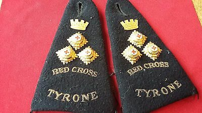 British Red Cross Society pair of early IRISH SHOULDER STRAPS RED CROSS TYRONE