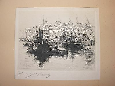 Antique Etching Hand Signed By Artist Edward Cherry Boats Thames Upper Pool