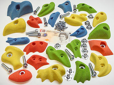 22x MIX COLOUR BOLT-ON & SCREW-ON ROCK CLIMBING WALL HOLDS SET INC FIXINGS