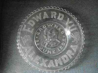 Vintage Edward VII Alexandra crowned june 1902  glass plate charger coronation