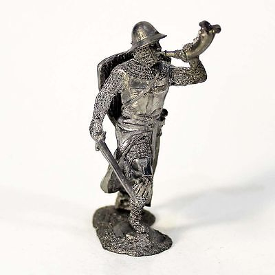 """Tin toy soldier """"Teutonic trumpeter, 13th c."""" metal sculpture 1/32 (54mm) #153"""