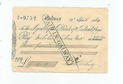 Bank  Of  Ireland  Cheque  Galway  1864