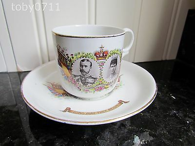 HENRY ALCOCK POTTERY CUP & SAUCER GEORGE V CORONATION QUEEN MARY 1911 (Ref962)