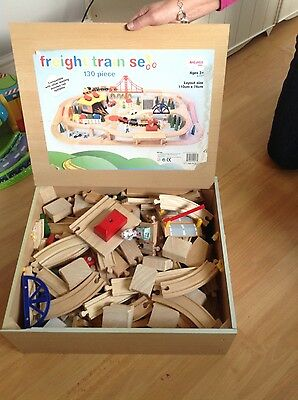 childrens wooden train set and train table