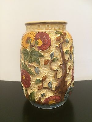 hand painted vase h j wood indian tree staffordshire