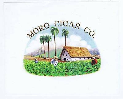 Moro Cigar Co., cigar box label, workers in field, palmtrees