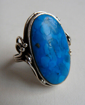 Vintage silver & turquoise ring- decorative shoulders- pyrite in stone
