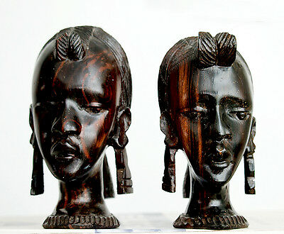 Vintage (1960's) Very Rare Pair of African Art Wood Carving Head Bust Female