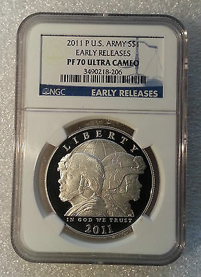 2011-P United States Army $1 Silver Proof Coin PF70