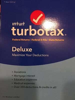 Intuit TurboTax Deluxe 2016 Fed plus State FACTORY SEALED GENUINE 100 GUARANTEED